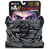 Fleece Neck Warmer, N-Rit Tube 9 Extreme 3 Multifunctional Face Mask Headwear - Durable Lightweight w/ Dual Ventilation Breathing System and Ear Muff [Gray/Black]