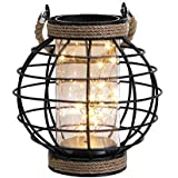 "JHY DESIGN Metal Cage LED Lantern Battery Powered,7.3"" Tall Cordless Accent Light with 20pcs Fairy Lights.Great for…"