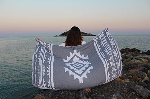 Bersuse 100% Algodón - Cozumel Toalla Turca - De Doble Capa - Fouta Peshtemal para Baño en la Playa - Pestemal de Diseño Azteca Mano - 100X180 cm, ...