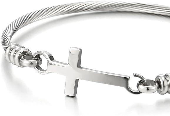 COOLSTEELANDBEYOND Couleur Or Etincelant Modern Femme Filles Perles Bracelet avec Zircone Cubique C/ôt/é Horizontal Croix
