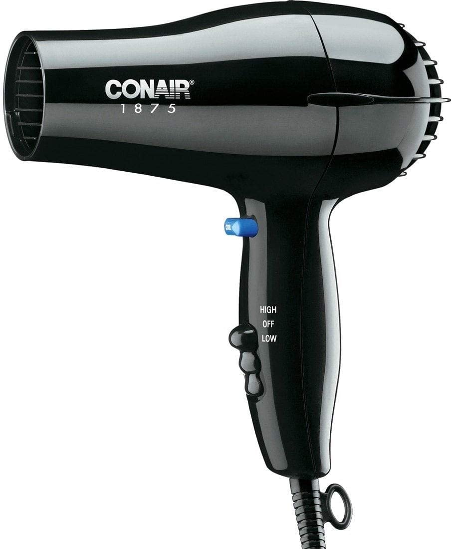 Conair 247BW Black Compact Hair Dryer – 1875W