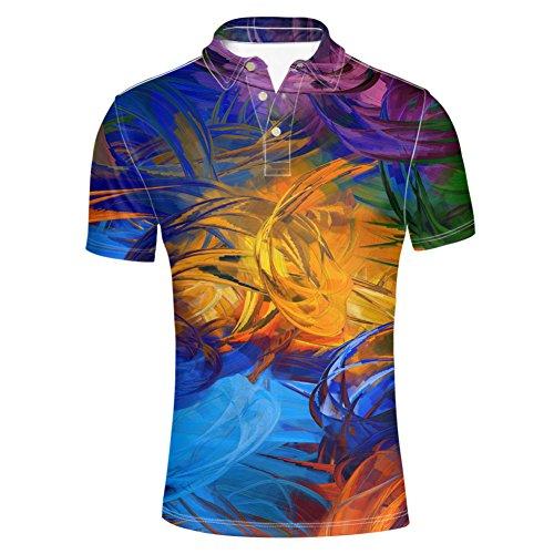 HUGS IDEA Bright Colol Mens Polos Shirt Fashion Short Sleeve