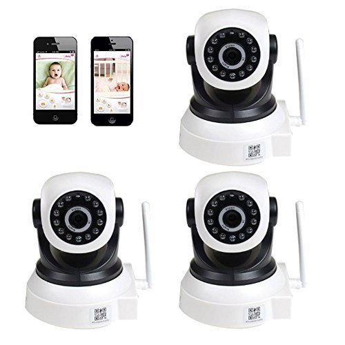 VideoSecu 3 Pack Wi-Fi IP Wireless Video Baby Monitor Day Night Vision Security Cameras with Pan Tilt for iPhone, iPad, Android Phone, PC and Smartphone WQ3