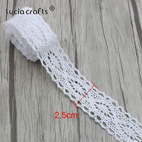Lucia Crafts N2C5G01 - Cinta de encaje bordada de algodón blanco ...