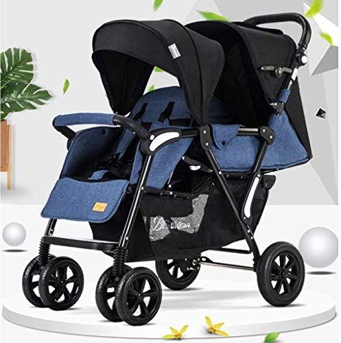 TZZ Double Stroller Foldable with Adjustable Backrest and with 5-Point Safety System Twin Tandem Baby Stroller (Color : Blue)
