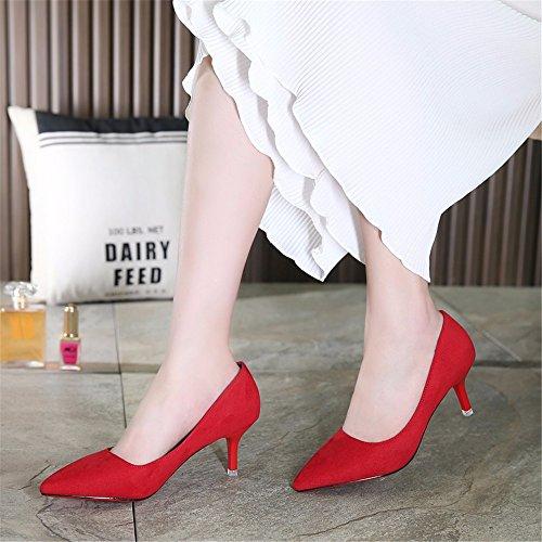 HXVU56546 Durante La Primavera Y El Otoño, Los Tacones Altos Zapatos De Mujer Solo Zapatos Zapatos De Satén Trabajar ,38, Rojo red
