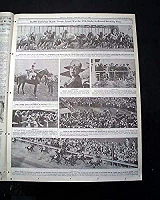Great TWENTY GRAND Thoroughbred Racehorse Wins KENTUCKY DERBY 1931 Old Newspaper CHICAGO SUNDAY TRIBUNE, May 17, 1931