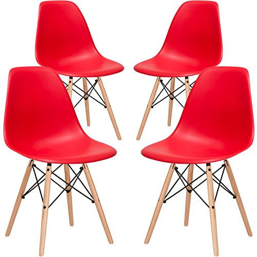 Poly and Bark Vortex Side Chair, Red, Set of 4