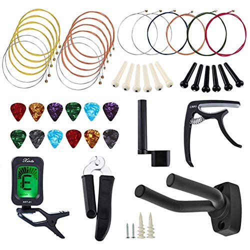 51 PCS Guitar Accessory Kit, All-in 1 Acoustic Guitar Changing Tool Set, Guitar Strings, Guitar Picks, Capo, Hanger, Winder, Pins, Picks, Cutter and Pin Puller for Guitar Players and Beginners