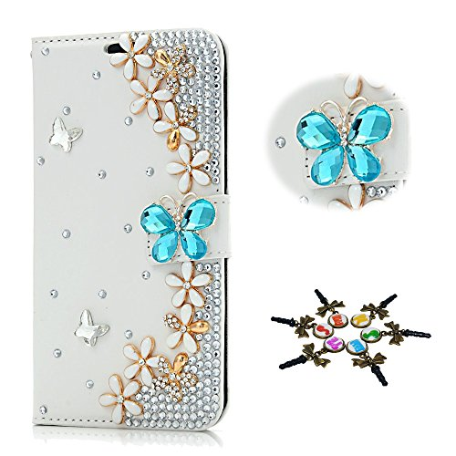 STENES LG K20 V/LG K20 Plus Case - 3D Handmade Crystal Butterfly Flowers Floral Sparkle Wallet Credit Card Slots Fold Media Stand Leather Cover With Retro Bows Dust Plug - Blue