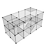 Tespo Pet Playpen, Animal Cage Indoor Portable Metal Wire Yard Fence for Animals Kennel Crate Fence Tent, Black