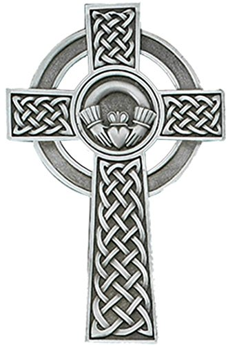 Pewter Claddagh Celtic Wall Cross with Antique Finish, 8 - Wedding Catholic Irish