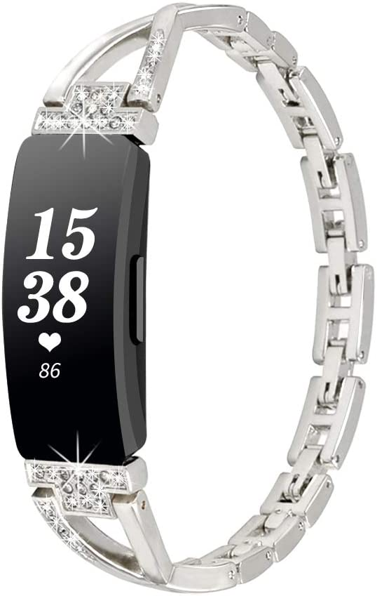 For Fitbit Inspire HR Luxury Bracelet Bling Band Metal Strap Stones Wristband
