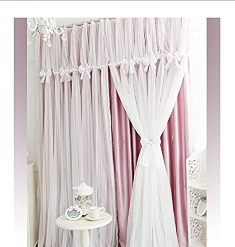 YOUSA Korean Ruffle Lace Curtains for Girls Room Fairy Window Treatments (2-Panel/42''W by 63''L/Blue)