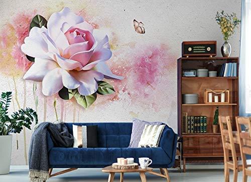 Murwall Floral Wallpaper Soft Pink Rose Wall Mural Blossom Wall Print Mediterranean Home Decor Cafe Design Living Room