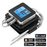 AcTopp BBQ Grill Thermometer Bluetooth BBQ Roasting Thermometer 2 Probes Probe Thermometer Temperature Preset Alarm iOS Android Magnetic Design for Cooking Grill Steak Smoker Baking