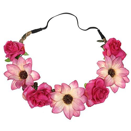 Napoo--Hair Clip Women Lady Simulation Sunflower Rose Rope Headband Holiday Wedding Hairband (Hot Pink) ()