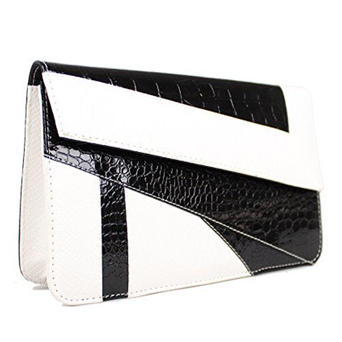 FiveloveTwo Womens PU Leather Clutch Handbags and Purse Wallet Crossbody Party Wedding Shopping Shoulder Bags Satchels Black White (Black & White Purse)