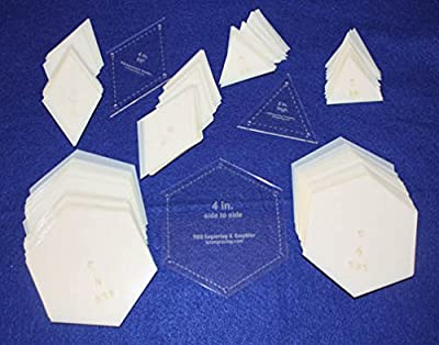 """Mylar 4"""" Hexagon (Side to Side Measurement) & 4"""" 60 Degree Diamond & 2"""" High Equilateral Triangle 153 Piece Set - Quilting / Sewing Templates"""