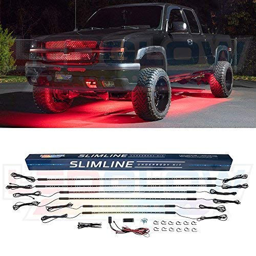 LEDGlow 6pc Red Truck Slimline LED Underbody Underglow Accent Neon Lighting Kit - Solid Color Illumination - Water Resistant, Low Profile Tubes - Included Power Switch Turns Lights On & ()
