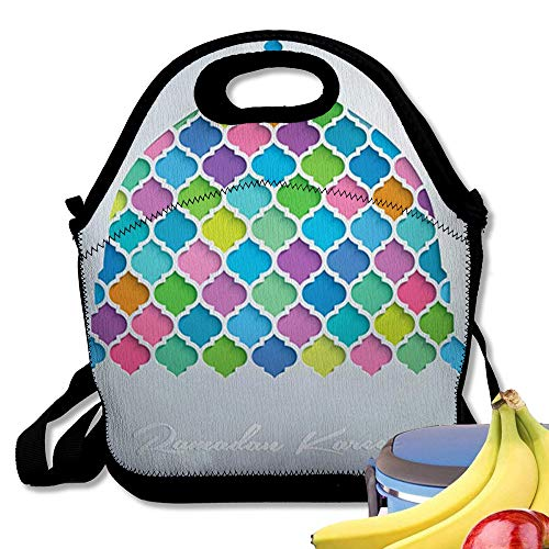 Insulated Neoprene Lunch Bag Mosque Dome Colorful Mosaic Ramadan Kareem Translation of May Generosity Bless You Du Reusable Soft Lunch Tote for Work and School