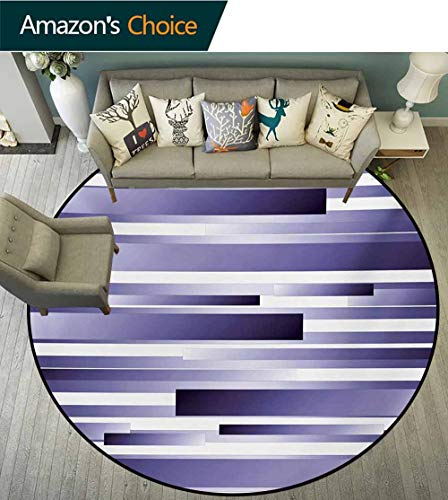 RUGSMAT Striped Small Round Rug Carpet,Shades of Purple Inspired Fragmentary New Artful Abstract Digital Pattern Art Door Mat Indoors Bathroom Mats Non Slip,Diameter-51 Inch Lavender White ()