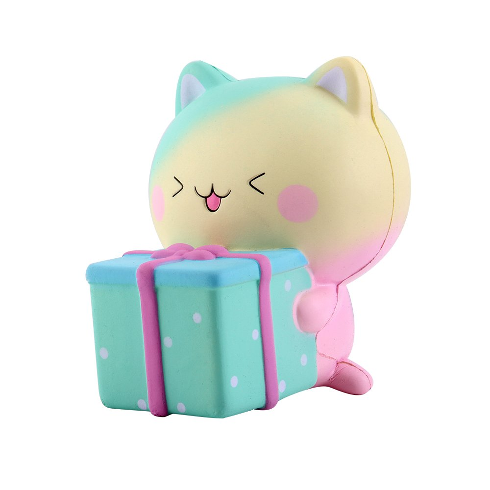 """Anboor 5.1"""" Squishies Cat Gift Box Jumbo Kawaii Soft Slow Rising Scented Super Big Squishies Animal Stress Relief Kid Squeeze Toys DM355 FBA"""