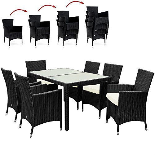 Poly Rattan Garden Furniture Dining Table and Chairs Set - 7pcs 6 + 1 Outdoor Patio Table and Chairs Set with Rectangular frosted Glass Table Plate