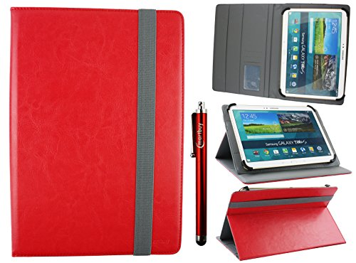 Emartbuy Universal 10-11 Inch Red Multi Angle Folio Wallet Case Cover with Card Slots Grey Elastic Strap and Stylus Pen Suitable for Selected Devices Listed Below