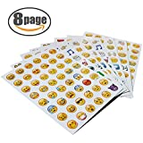 NOBBEE EMOJI Sticker 8 Sheets Emoticon Stickers (2cm) Smiley Face Decorative Funny Faces from Facebook iPhone