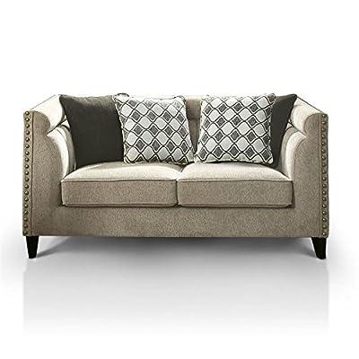 Furniture of America Chelsea Nailhead Trim Love Seat in Brown