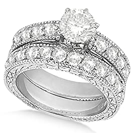 14k Gold Women's Preset Antique Design Heirloom Round Diamond Bridal Set in (4.41 carat)
