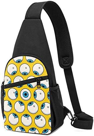 大きな眼球 斜め掛け ボディ肩掛け ショルダーバッグ ワンショルダーバッグ メンズ 多機能レジャーバックパック 軽量 大容量