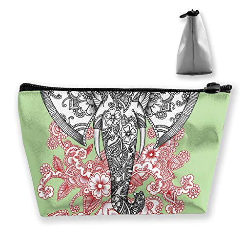 RobotDayUpUP Elephant Flower Tattoo Design Womens Travel Cosmetic Bag Portable Toiletry Brush Storage Stylish Pen Pencil Bags Accessories Sewing Kit Pouch Makeup Carry Case