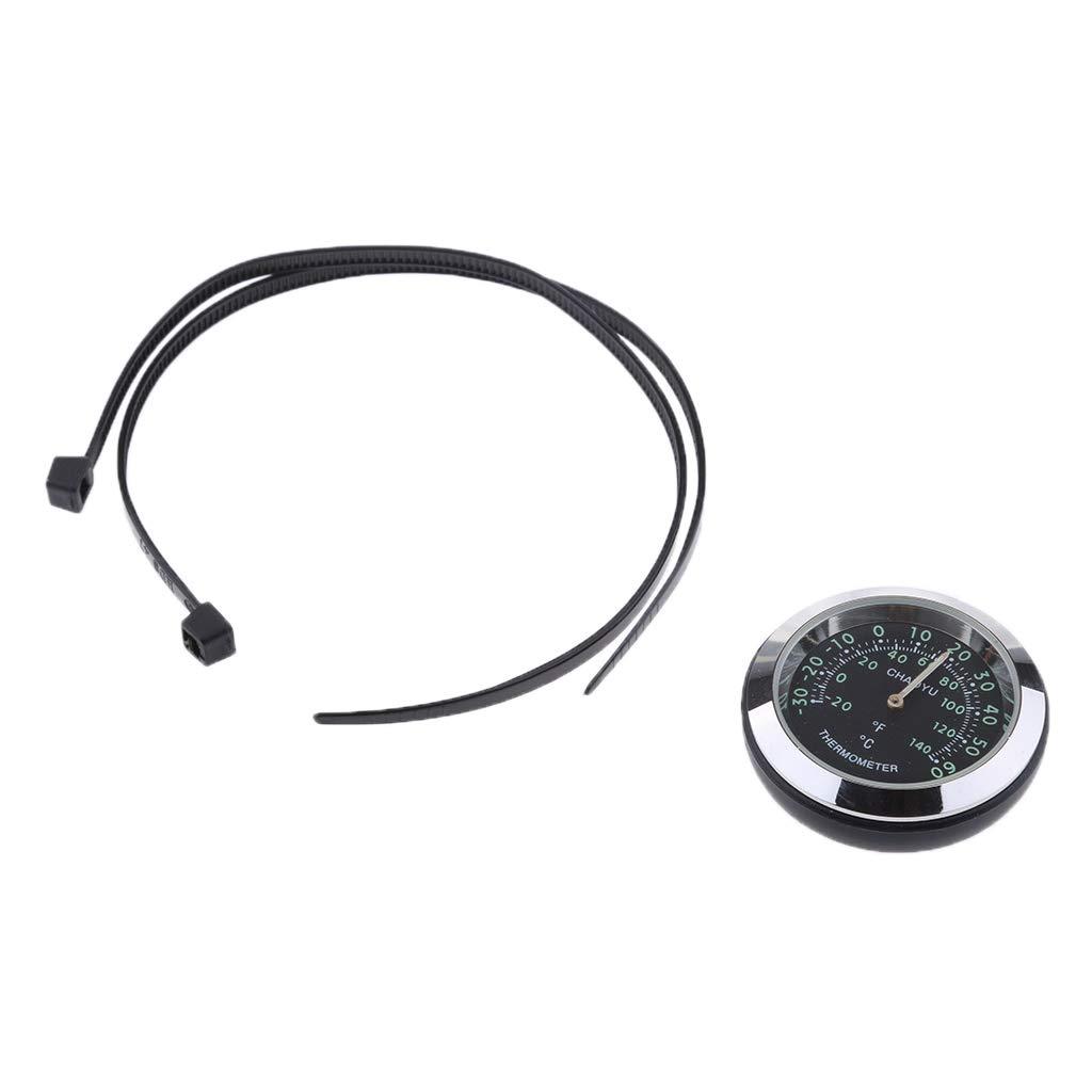 gazechimp Orologio Termometro Orologio Impermeabile Quadrante Montaggio Manubrio Moto Termometro Igrometro da 7//8 1inch Nero Termometro