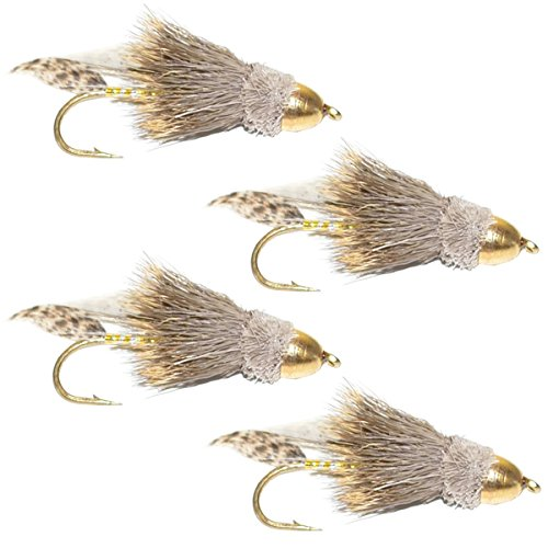 Fishing Cone - The Fly Fishing Place Cone Head Muddler Minnow Fly Fishing Flies - Bass and Trout Streamers - Set of 4 Flies Hook Size 8
