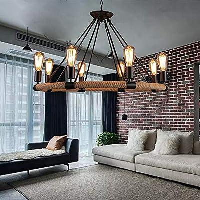 Pendant Ceiling Light Edison Vintage Industrial Loft Rope Chandelier Fixture Retro Rustic Chandelier