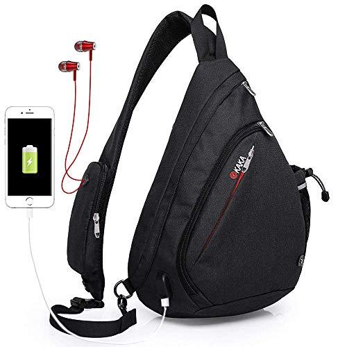 Sling Bag,Large Crossbody Backpack Chest Shoulder Backpack Waterproof  Travel With USB Charging Port for 2de5012c27