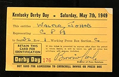 1949 Kentucky Derby Press Pass Ticket 5/7/49 Ponder Ex 23212
