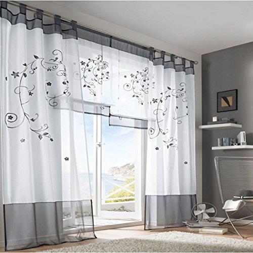 Souarts Grau Stickerei Transparent Gardine Vorhang Schlaufenschal Deko für Wohnzimmer Schlafzimmer Studierzimmer 140cmx245cm Nur Ein Schlaufenschal Ohne Raffgardinen