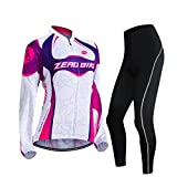 ZEROBIKE Women's Fleece Thermal Long Sleeve Cycling Jersey Clothing Sets Wind Coat Bicycle Wear Warm Sportswear