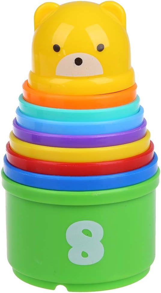 SODIAL(R) 9 Stacking Pilas Aprendizaje Contar Numero Copas Torre del bebe y Actividad Nino JUGUETE