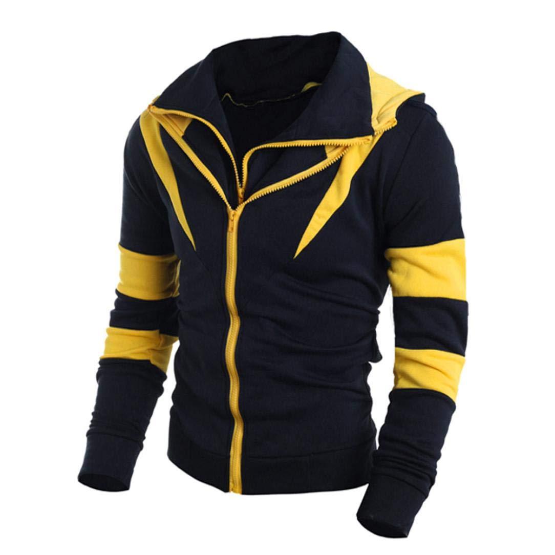 Danhjin Retro Long Sleeve Hoodie Hooded Patchwork Sweatshirt Tops Men Jacket Coat Outwear Outdoor Pullover (Yellow, XXL)