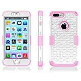 iPhone 7 Plus Case, Speedup Diamond Studded Crystal Rhinestone 3 in 1 Hybrid Shockproof Cover Silicone and Hard PC Case for Apple iPhone 7 Plus (2016 Released) (White + Pink)
