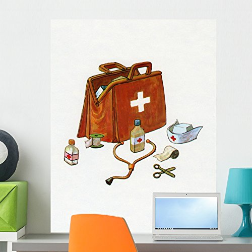 Wallmonkeys 1960s Illustration of a Medical or Doctor's Bag Wall Decal Peel and Stick Graphic WM29124 (24 in H x 19 in W) by Wallmonkeys