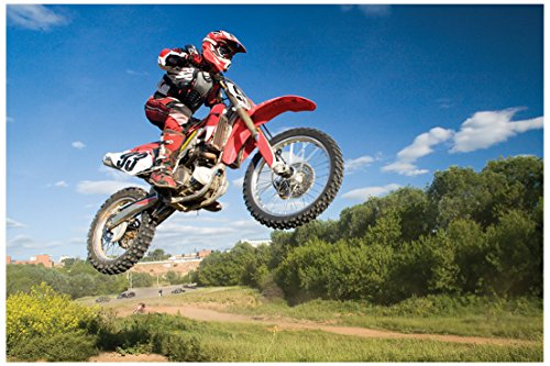"JP London Solvent Free Art Print PAPM2160 Ready to Frame Poster Motocross Jump Excite Bike Dirt Rider at 24"" h by 36"" w"