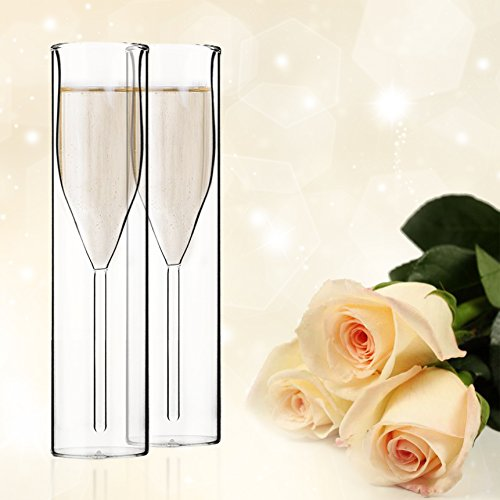 Mother's Day Gift Borosilicate Double Wall Champagne Flutes, Champagne cup inside out, Mouth-Blown,Reusable Glass,Best Gift for Parties, Weddings and Celebrations, Set of 2, 3.5-Ounce/100ml