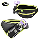 GRM Running Pouch Belt Hydration Waist Pack for Running, Adjustable & Multifunction Running Fanny Pack Hydration Belt with Water Bottle Holder for Phone up to 6.5', Perfect for Women Men, Black