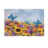 NYMB Nature Decor, Beautiful Butterflies Dance on Sun Flower Ocean Bath Rugs, Non-Slip Doormat Floor Entryways Outdoor Indoor Front Door Mat, Kids Bath Mat, 15.7x23.6in, Bathroom Accessories (Multi4)
