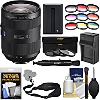 Sony Alpha A-Mount 24-70mm f/2.8Z Carl Zeiss T SSM II Zoom Lens with 3 UV/CPL/ND8 & 9 Color Filters + NP-FM500H Battery & Charger + Sling Strap + Kit